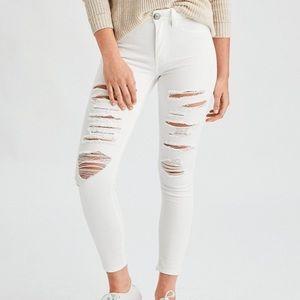 AEO white hi-rise legging crop size 14 long